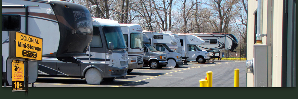 Row of Stored Motor-home vehicles